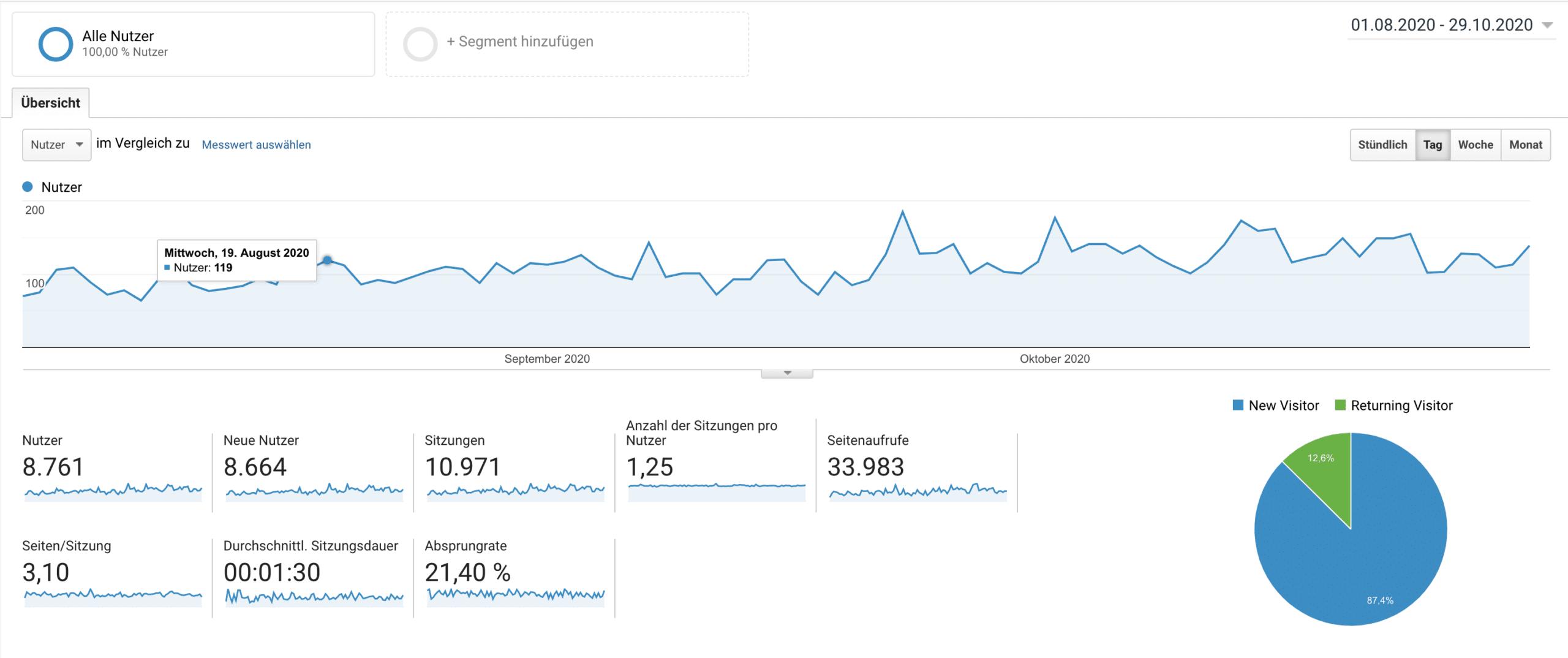 Google Analytics Auszug für die monatlichen Besucherzahlen